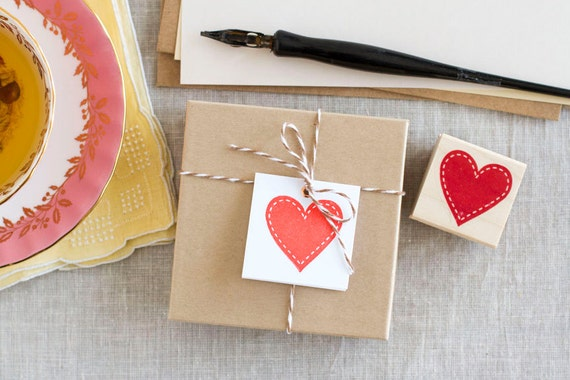 Handcrafted Rubber Stamp - Heart - Great for Love Notes Gift Tags Wedding Crafts Save-the-Dates Scrapbooks Cards and more
