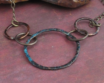 Hammered Copper Circlet Necklace Eco-Friendly w Blue Patina