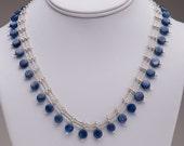 Three-Strand Necklace / Kyanite Gemstone Coin Beads / Sterling Silver / Cornflower Blue / Elegant Collar Necklace- - - Ariene
