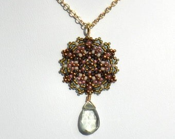 Beadwoven Single Mandala Necklace / Prasiolite Briolette / Gold-Filled Chain / Palest Green / Spring Colors / Romantic / Chic- - - Elina