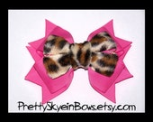 Layered Boutique Hair Bow Clip in Hot Pink and Fuzzy Cheetah