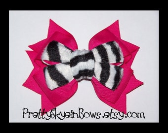 Layered Boutique Hair Bow Clip in Fuchsia and Fuzzy Zebra