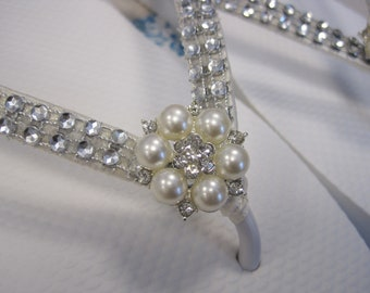 So Sweet Bride Annabeth Deluxe Glamorous Rhinestone and Pearl  Bridal Wedding Flip Flops