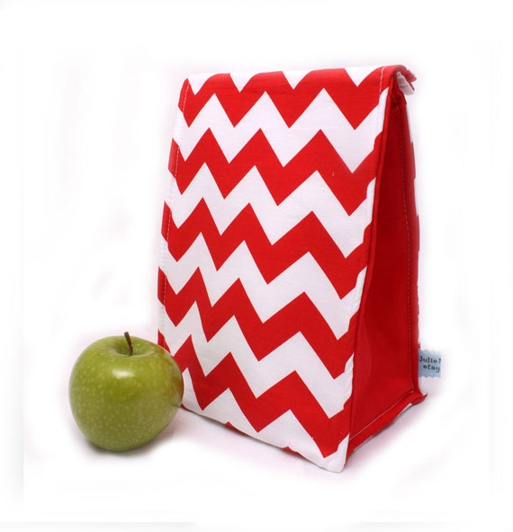 Red Chevron Back to School Insulated Lunch Bag