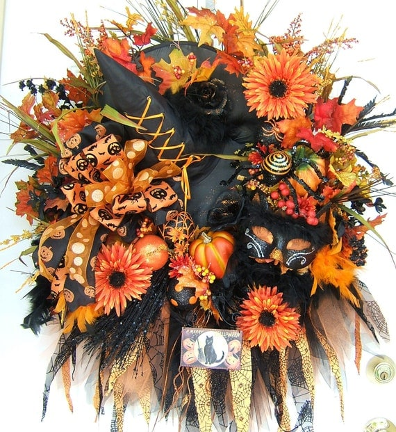 Custom made order, XXXL Halloween wreath, witch wreath, fall floral wreath,  autumn wreath, Front Door wreath
