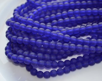 Frosted Cobalt Blue 6mm Round Beads  50