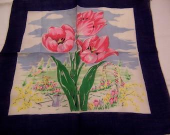 tulip garden vintage hanky