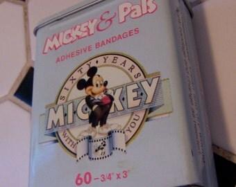 mickey & pals adhesive bandage tin