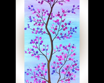 """Cherry Blossom painting contemporary wall art original oil painting purple blue magenta violet wall decor """"Symbol Of Hope"""" By qiqigallery"""