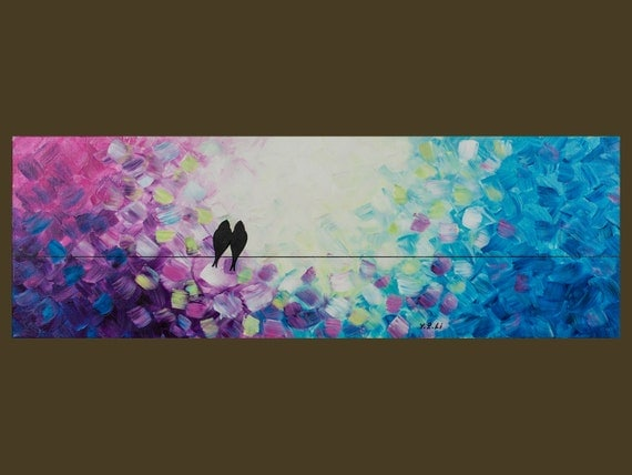 """Original Modern Abstract Heavy Texture Impasto Acrylic Painting Landscape Love Birds Wall Décor """"Whispering VII"""" by QIQIGALLERY"""