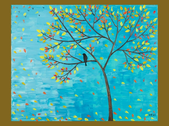 """Original Modern Abstract Heavy Texture Impasto Palette Knife Painting Landscape Tree Bird Wall Décor """"Flying Away"""" by QIQIGALLERY"""