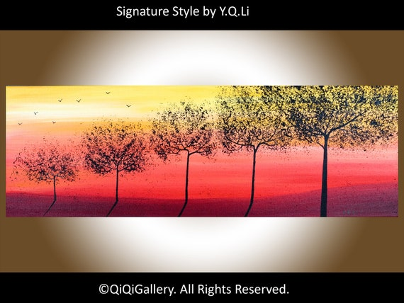 """Landscape Abstract Original Painting Handmade Heavy Texture Tree Sun Birds Wall Decor """"Growing Up"""" by QIQIGALLERY"""