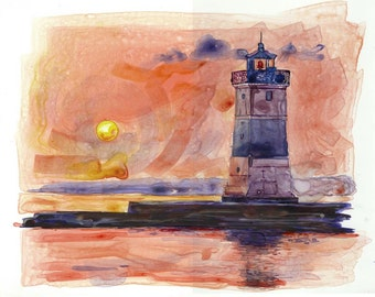 watercolor painting of sunset lighthouse