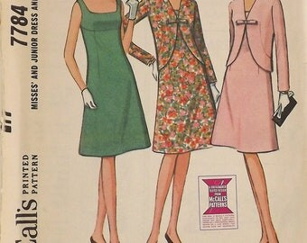 Vintage 60's Sewing Pattern, Dress and Jacket, Size 12