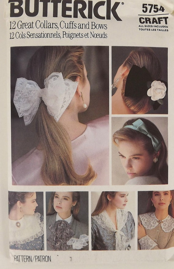 Vintage 80s Sewing Pattern, Hair Bows, Collars and Cuffs, Misses Accessories