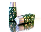 Summers Night: Hand painted Salt and Pepper Shakers Green with flowers