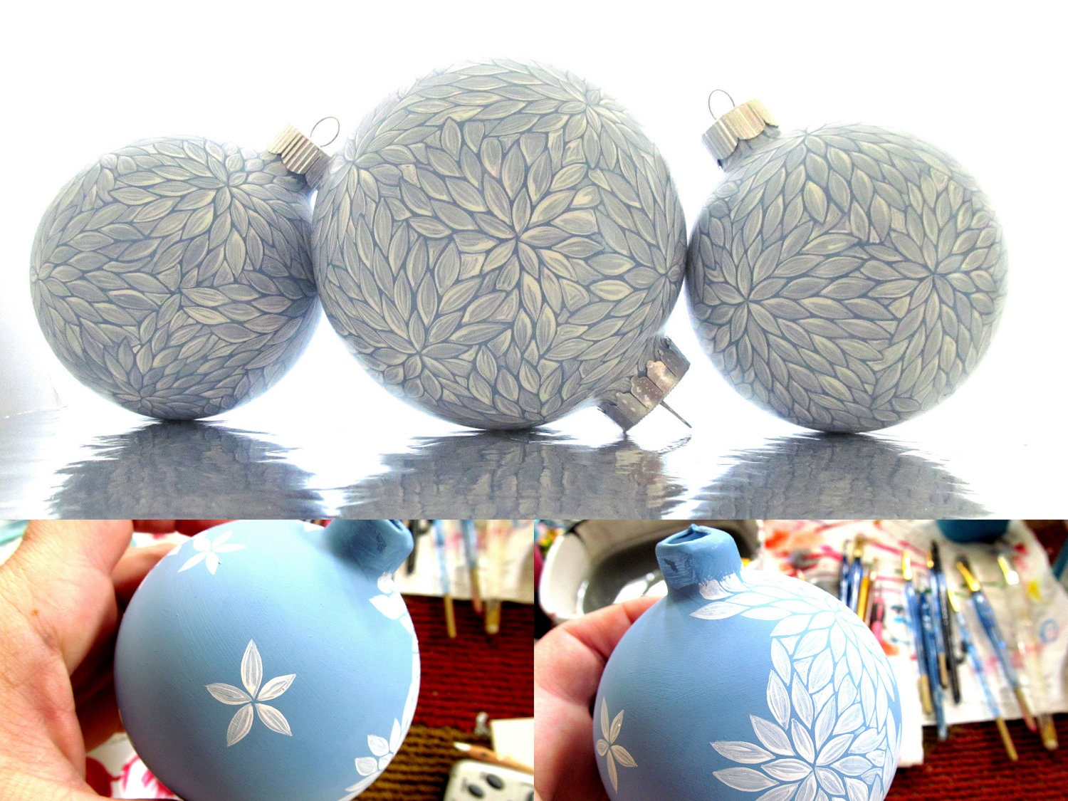 Personalized wedding christmas ornament - Winter Wonderland Set Of 3 Blue And White Painted Glass Ornament Christmas Ornament Wedding Set Can Be Personalized
