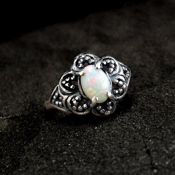 Opal Ring: Sterling Silver and Opal - october birthstone, white opal, flashy gemstone, iridescent, oval cabochon, 7x5mm, flower