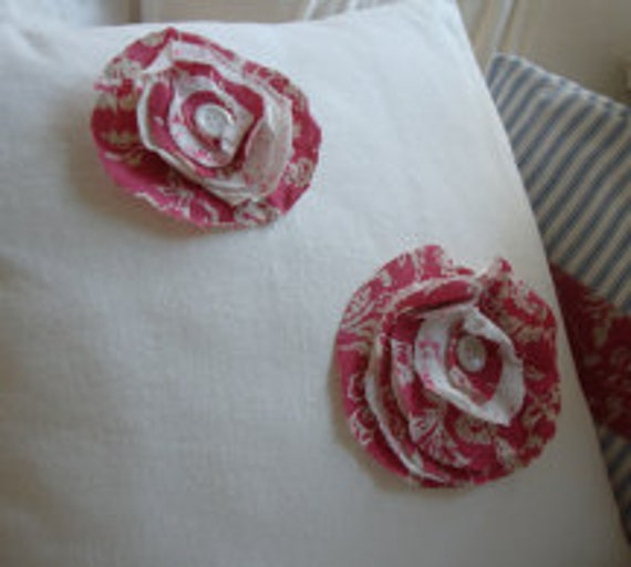 French White Twill/Down Feather/PaRiS Cottage/Shabby Chic/Red/FRaYed FLoWer/Coastal/Throw Pillow