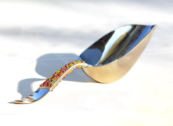 Ice Scoop Beaded Scoop Colorful FIESTA Celebration, STAINLESS Steel Scoop - CUSTOM Choose Colors