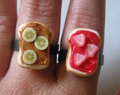 Peanut Butter and Strawberry Jelly Rings, With Banana and Strawberry Slices, Best Friends