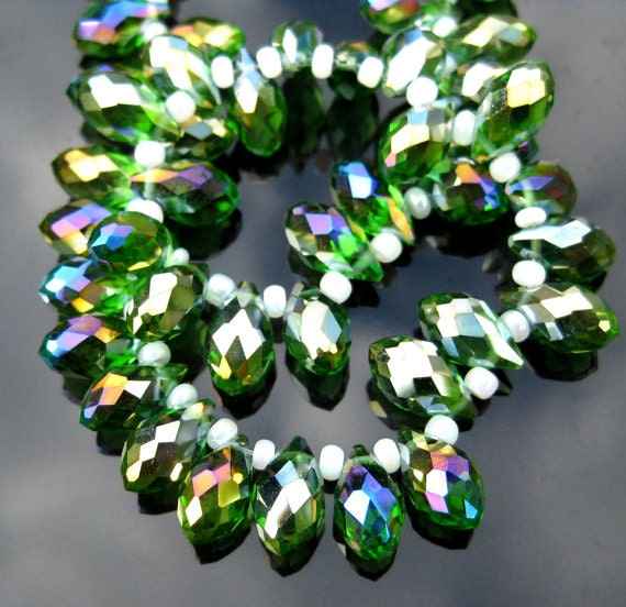 Green AB, Faceted Teardrop Crystal Beads Pkg of 10 size12x6mm GB 412