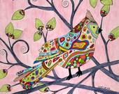 Grandma's Songbird Note Cards, Cardinal, Bird, Tree, Garden