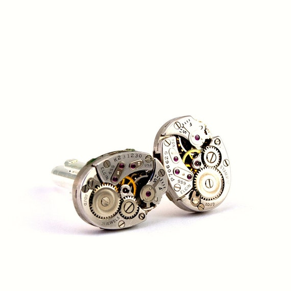 Watch Movement Cuff Links - Stunning Mens Steampunk Cufflinks - GORGEOUS Elgin Clockwork Design - PROMPTLY SHIPPED