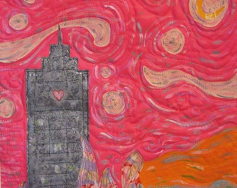 """Art Quilt - Love In The City - Published in """"Art Quilting Studio"""""""
