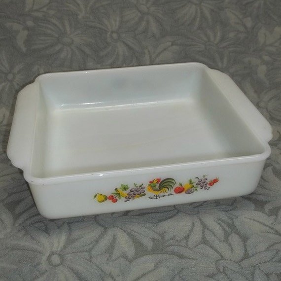 """Vintage Fire-King Chanticleer ROOSTER Cake Pan...Baking Dish, 8"""" sq...Country Kitchen"""