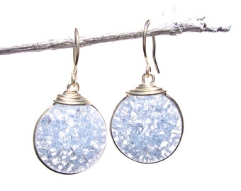 pale lavender fried glass earrings with silver