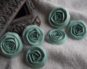 Scrapbook Flowers...6 Piece Set of Very Pretty Juniper and Mint Green Scrapbook Paper Flower Rolled Roses