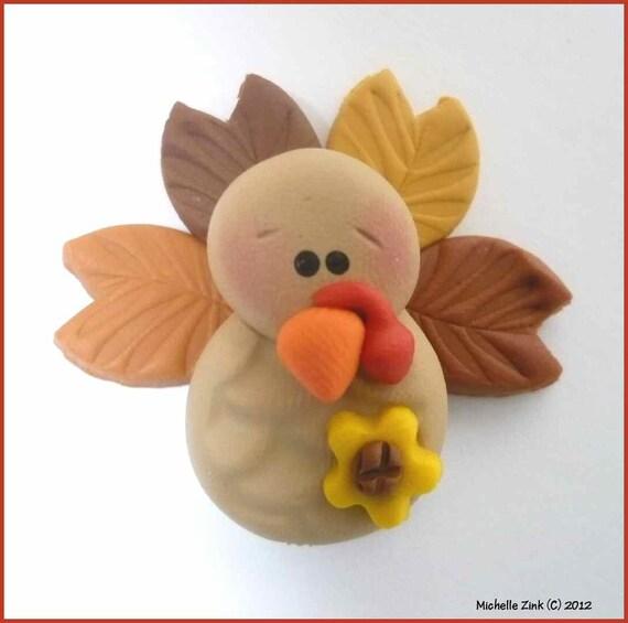 NEW Polymer Clay Bead or Bow Center Sunflower Turkey