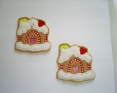 Felt Embroidered Appliques,  Gingerbread House, Set of 4