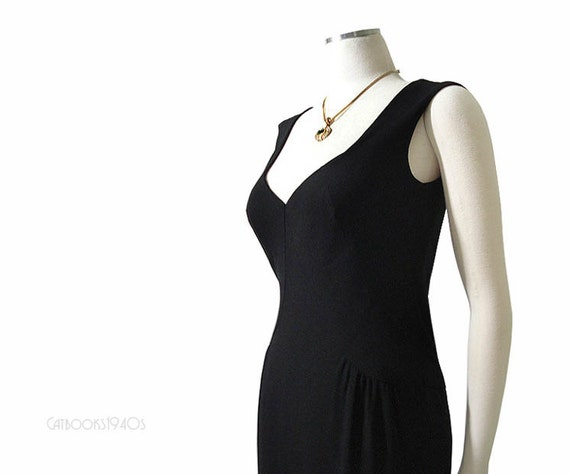 Vintage 60s Black Cocktail Dress - Joan Mad Men Wiggle Dress Low Cut M