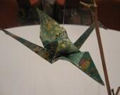 "Centerpiece Origami Cranes (A set of three cranes) - ""Blue-green/Gold"""
