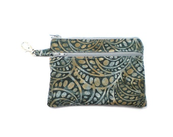 Larger Zippered Wallet Change Purse Gadget Case Art Deco Swirl in Smoke