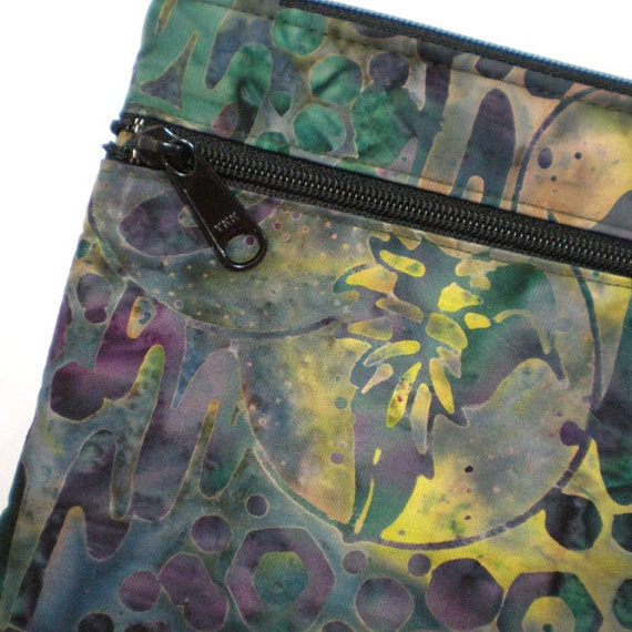Cross Body Hipster Kindle Case Kindle Cover Ereader Cover Purse with Adjustable Strap Dark Green and Dragonfly Batik