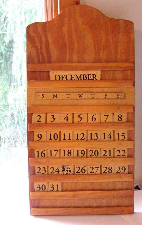 Mid Century Perpetural Calendar Handmade all Pieces by emmylucy