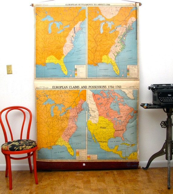 Vintage Wall Map Industrial School pull down chart
