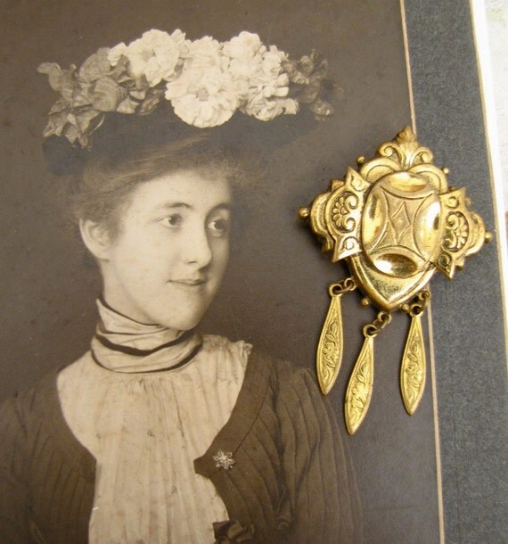 Vintage Pin with fringe 1930s Victorian Revival