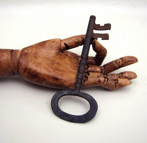 "Antique French Castle Key 7"" long Skeleton Key Large Iron Assemblage Curio"