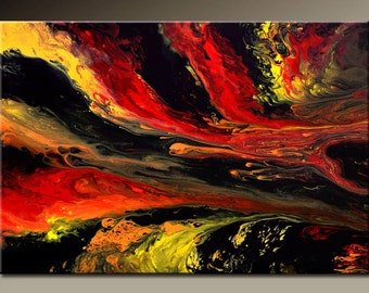 Abstract Art Painting 36x24 Original Painting Contemporary Gallery Wrapped Canvas Art by Destiny Womack - dWo - Through The Flames