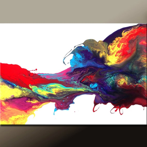 Abstract Art Canvas Painting 36x24  Original Modern Contemporary Wall Art by Destiny Womack - dWo - Birth of the Cosmos