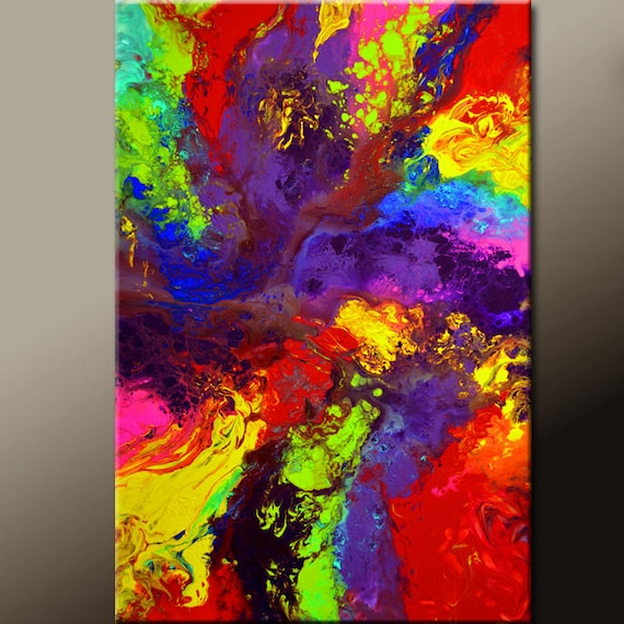 "Abstract Canvas Paintings - 36"" Original Contemporary Wall Art by Destiny Womack -  dWo - RHAPSODY"