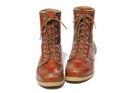 Reserved  for Michelle.  Orange Brown Leather Work Boots size 6.5