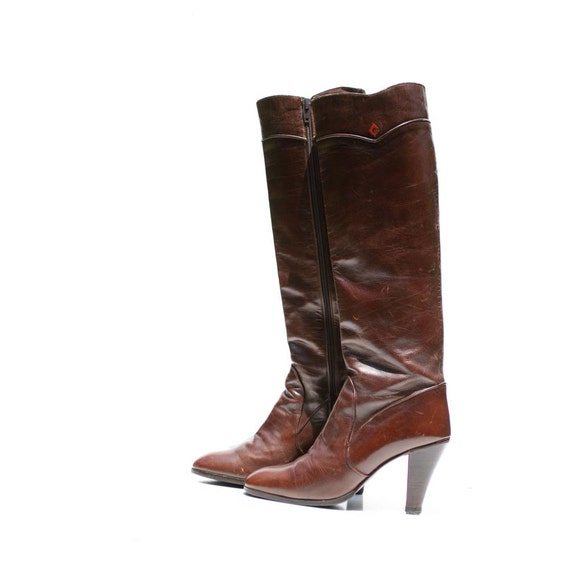 Vintage Dark Brown Gucci Leather Tall Boots size 6.5