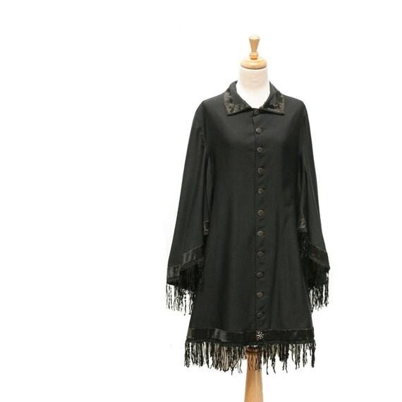 RESERVED  vintage Black Cape Dress Coat