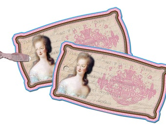 Marie Antoinette Tags, Romantic Paris Gift Tags, French Paris Pink Tags, Bridal Shower Favor Tags, Loius XVI Tags