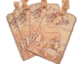 Parisian Gift Tags,  Beautiful Romantic Paris Gift Tags, Paris Peach Tags,  19th Century Cottage Chic French Paris Pink